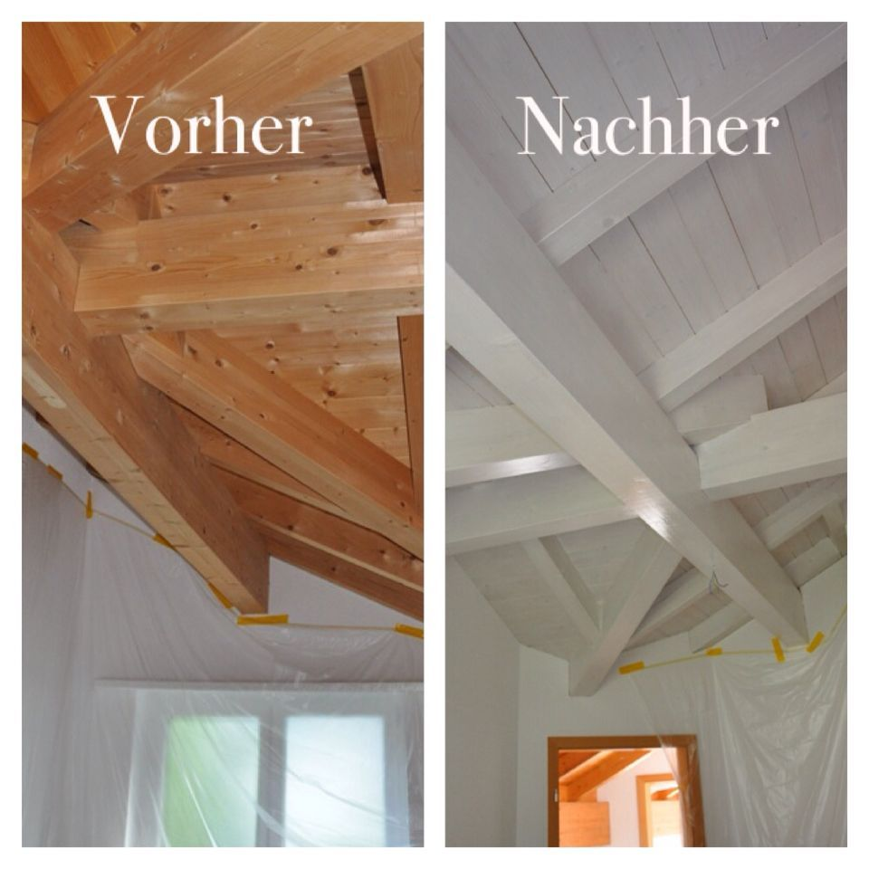 Holzdecke Streichen Weiß Wooden Ceiling White Painting Before After #after #before #ceiling #painting #white #wooden | Holzdecke Streichen, Holzdecke, Holzdecke Weiß