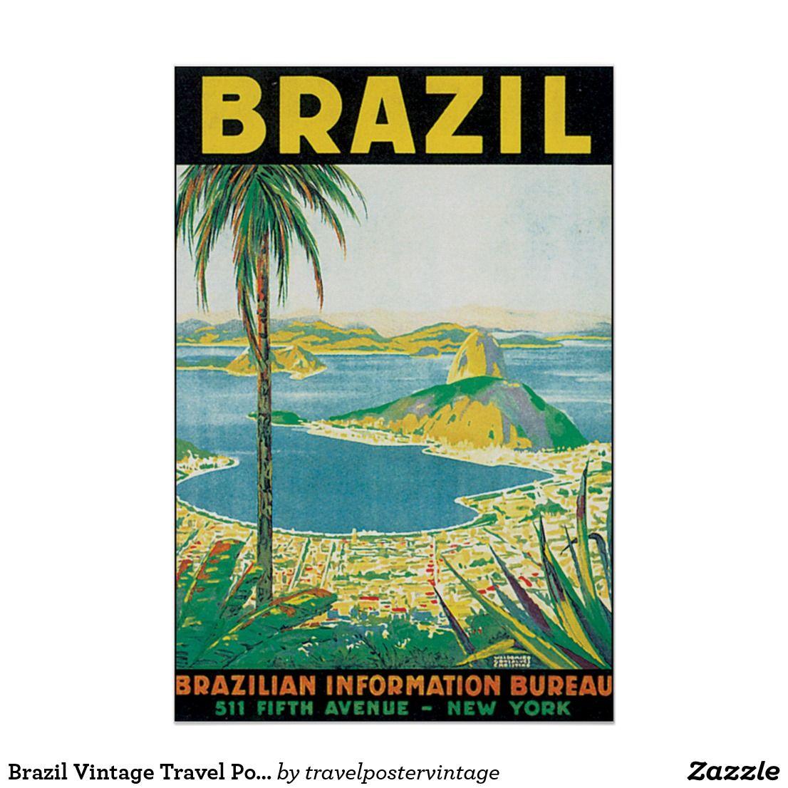 Brazil Vintage Travel Poster Zazzle Com Vintage Travel Posters
