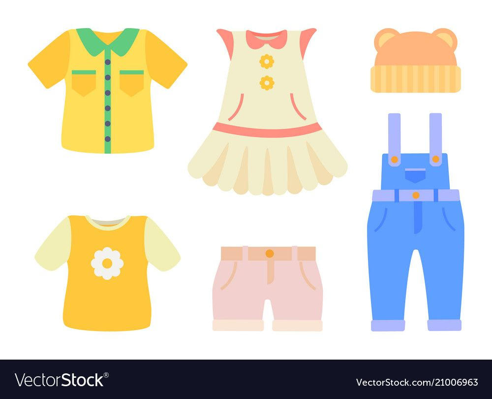 Baby clothes collection poster vector image on VectorStock