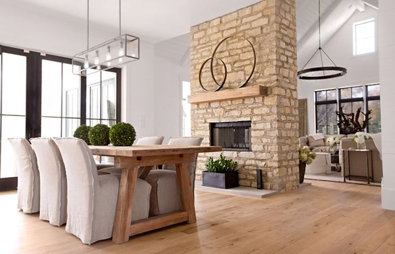 22 Double Sided Fireplaces In Dining Rooms Addition