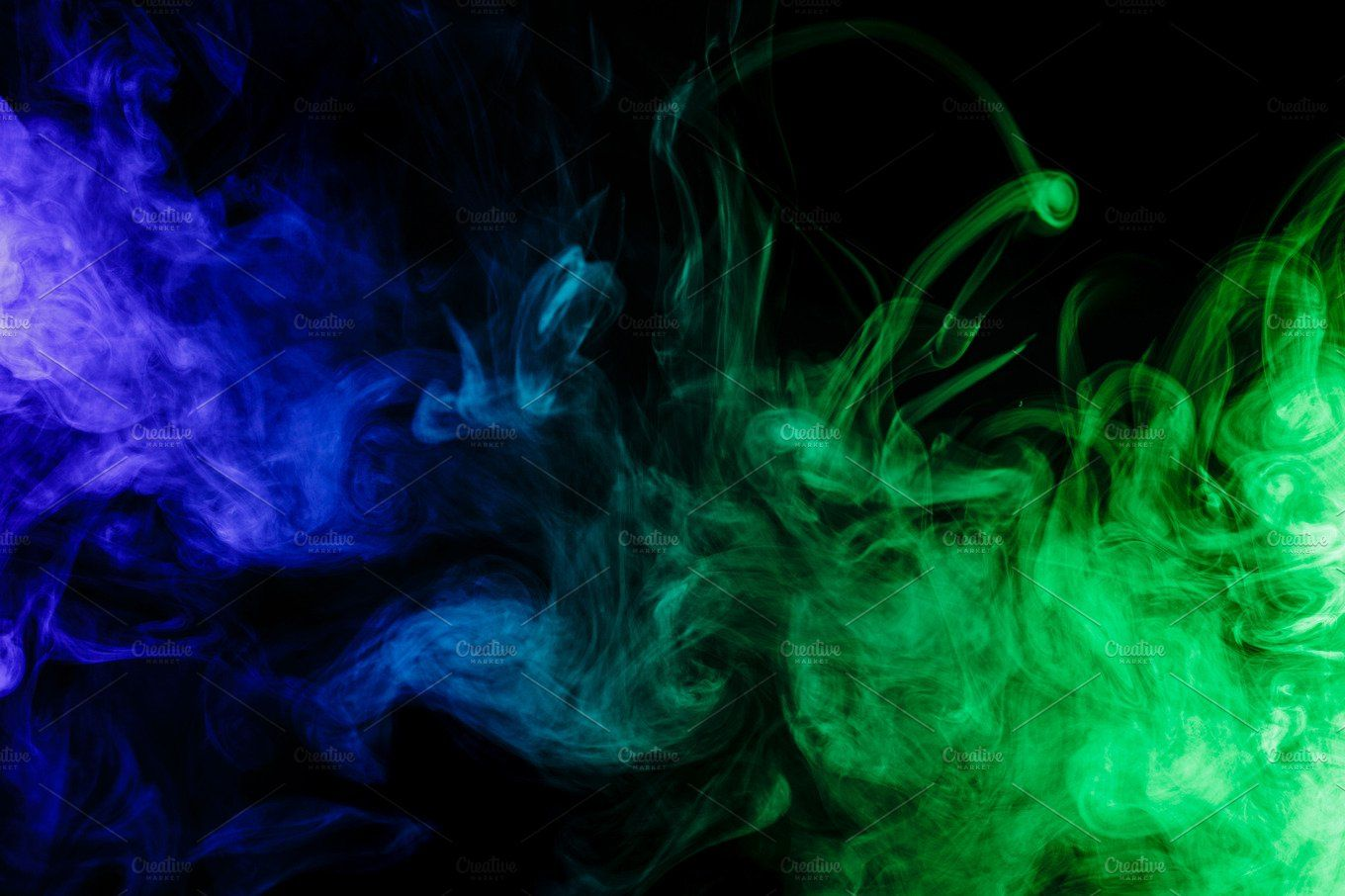 Abstract Blue And Green Smoke Hookah Smoke Background Green