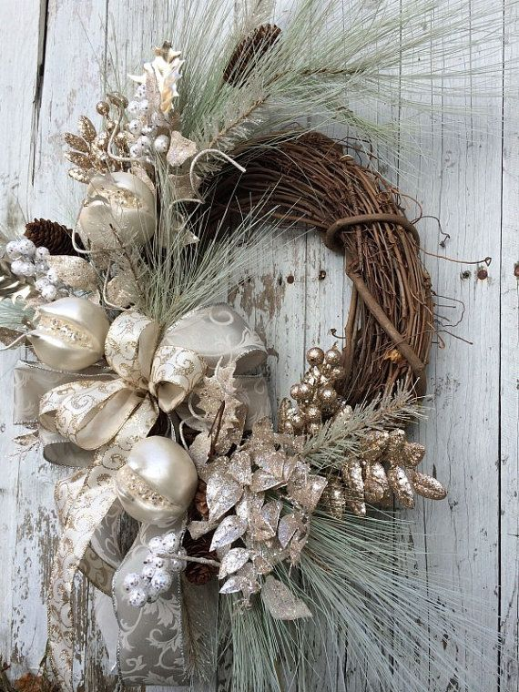 Silver and Gold Sparkle Christmas Wreath for Door ...