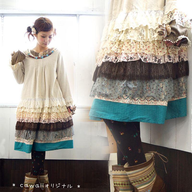 0e8431c5963 Automne Hiver Femmes Japonais Coton Lin Dentelle En Cascade Volants Robes  Mori Fille Mignon Perles Muti