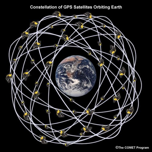 Constellation of GPS satellites orbiting Earth. | Geos ...