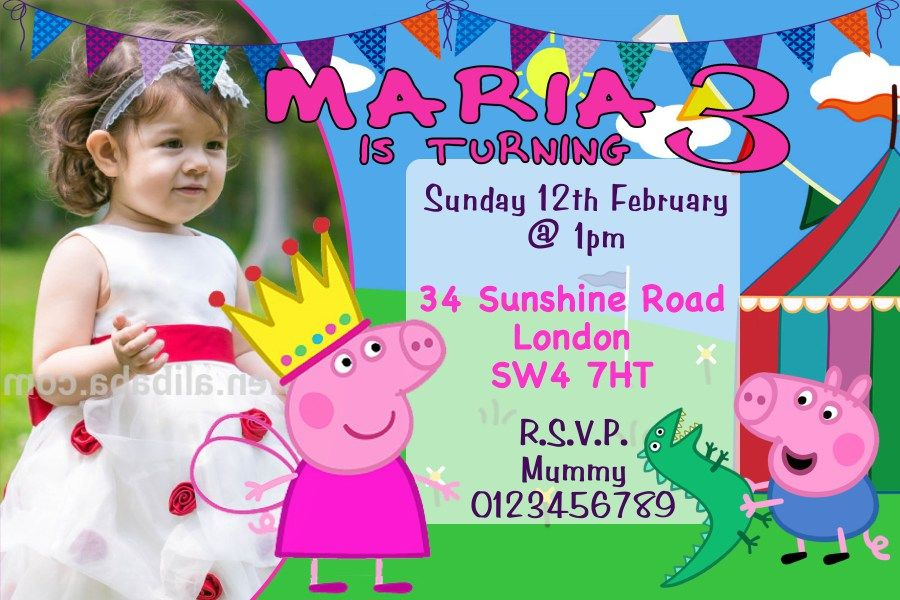 Personalised Peppa Pig And George Birthday Party Invitations
