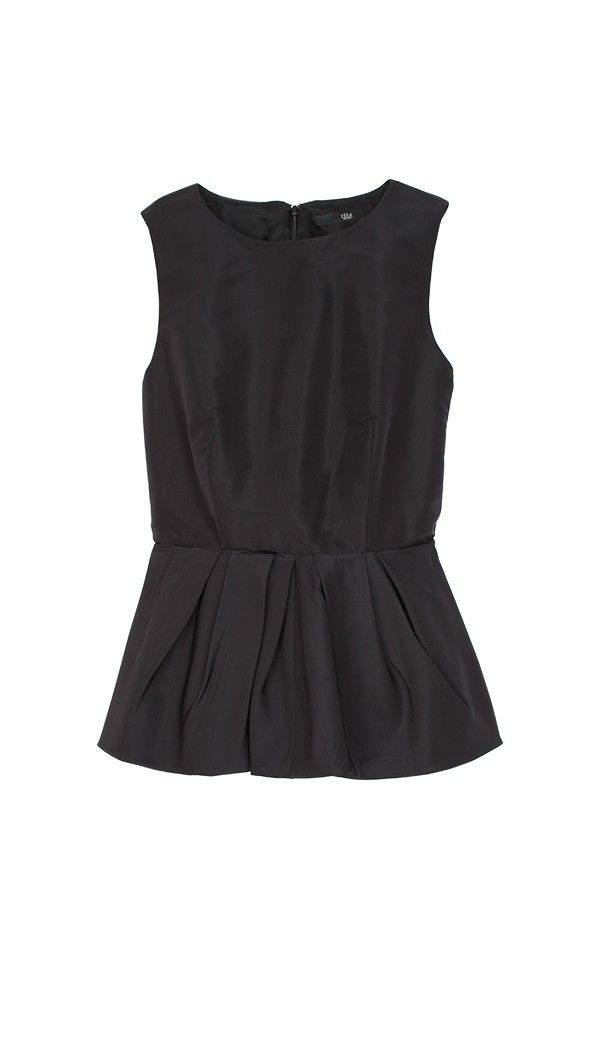 Blouses Camisoles Shirts Tops |Tibi - Silk Faille Peplum Top | Black is Black