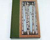 Elegant handmade book, bound in green woven rayon book cloth, and wood, with original block print art on cover. Journal, diary, sketchbook.
