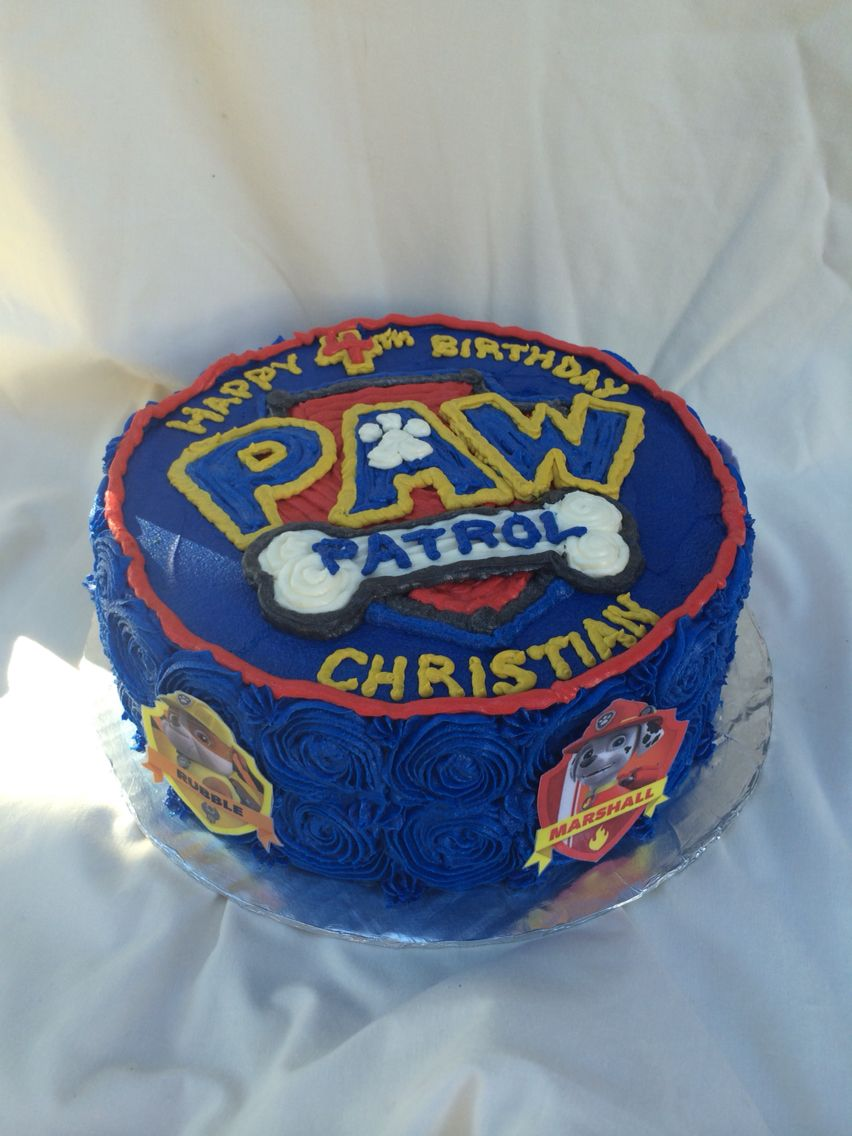 Blue Buttercream Rosettes Paw Patrol Birthday Cake By Inphinity