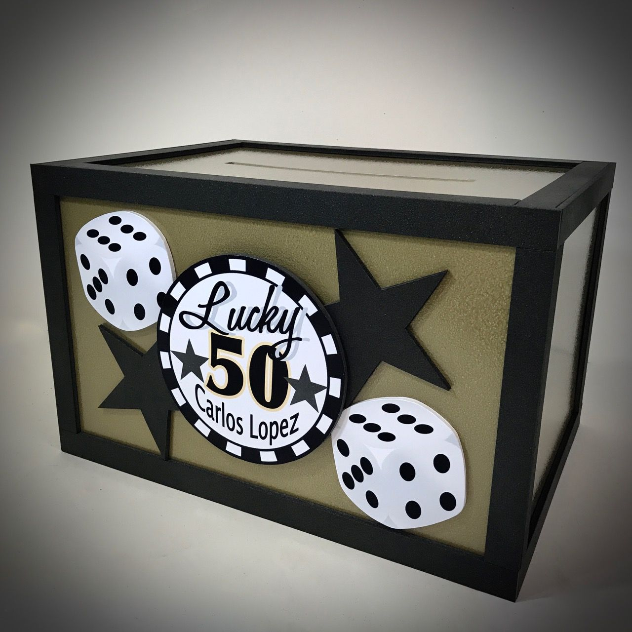 50th Birthday Party Gift Card Box With A Vegas Gambling Theme That