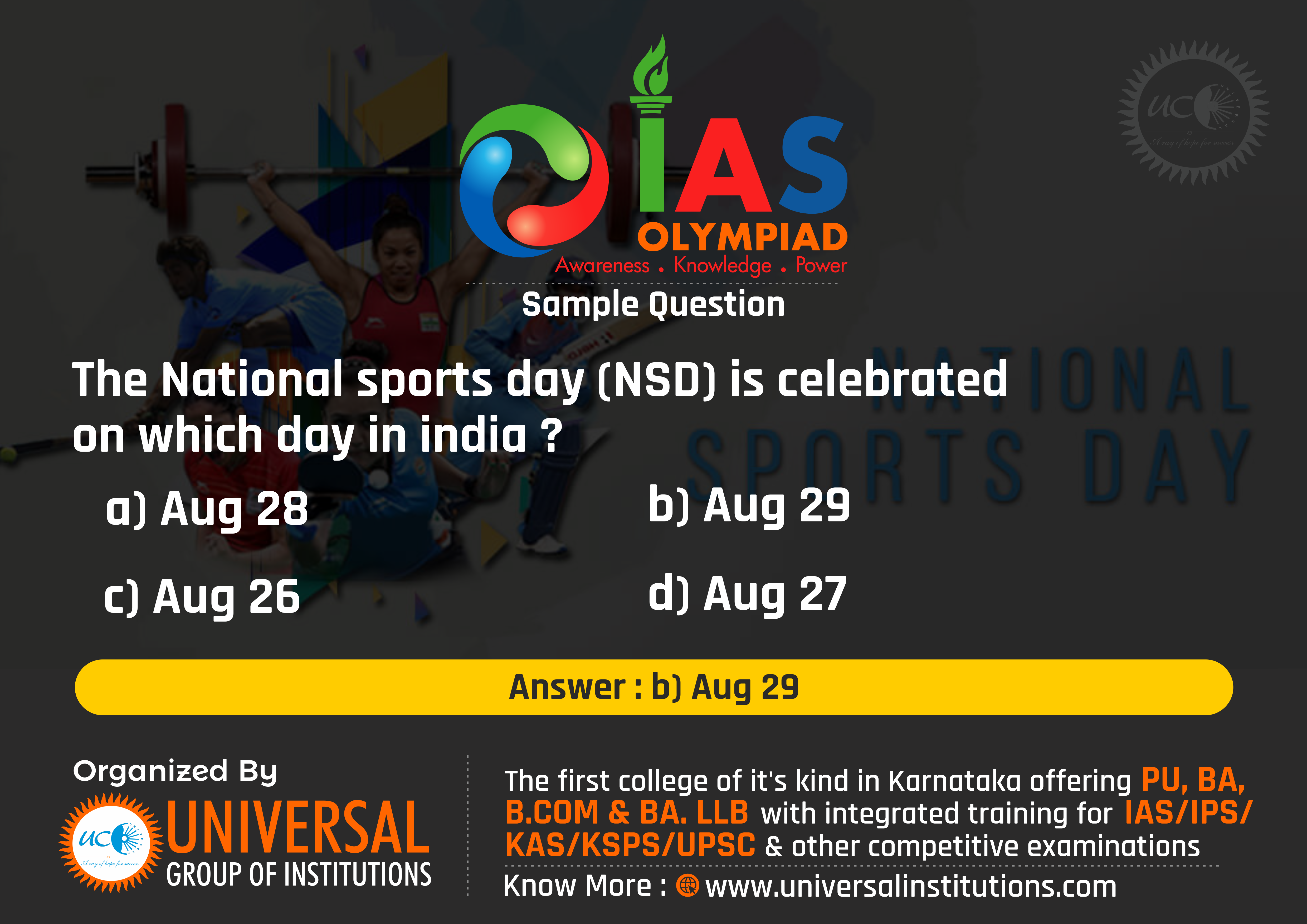 IAS OLYMPIAD QUESTIONS in 2020 National sports day