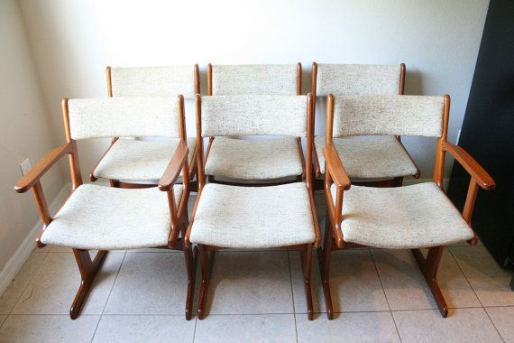 Six Mid Century Modern Teak Dining Chairs  by RetroTherapyRehab, $795.00