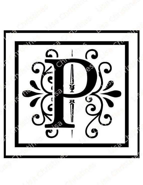 Ornamental Monogram Letter P Digital Image by LisaChristines