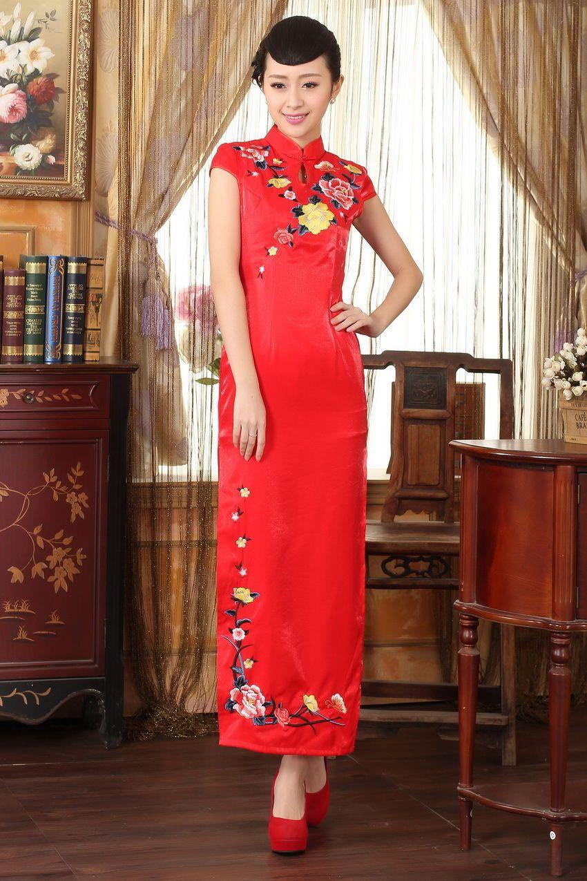 Red chinese womenus silksatin evening long dress cheongsam szsxl