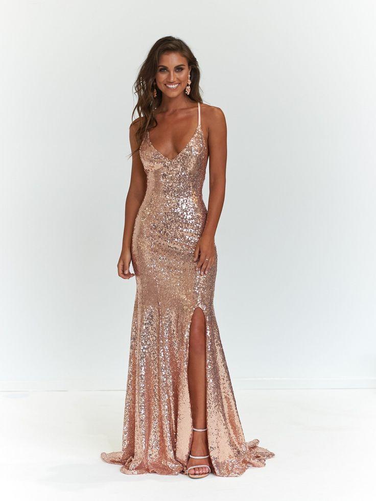 long sparkly dresses rose gold
