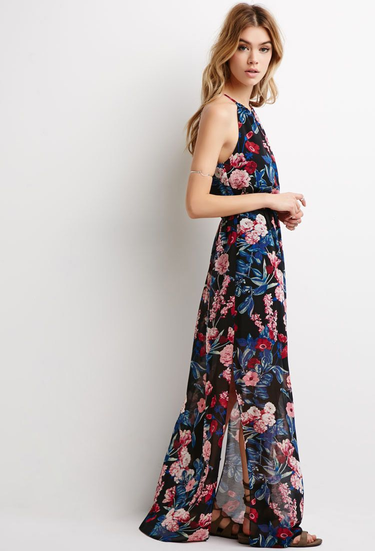 Forever 21 pink floral maxi dress