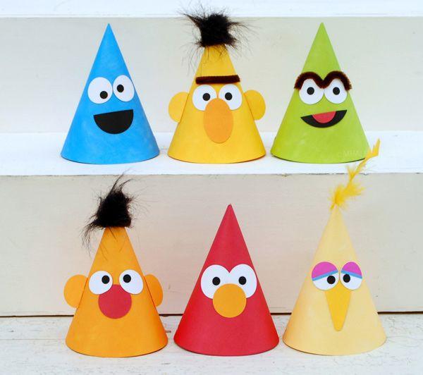 Maak zelf Sesamstraat  hoedjes voor de verjaardag van zoon of dochter.