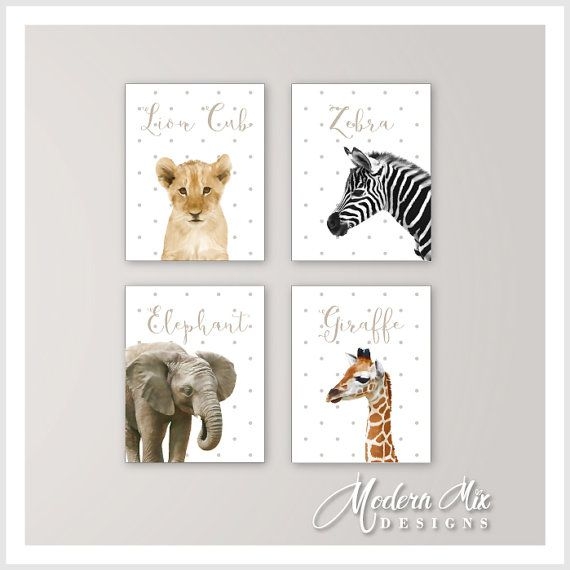 Animal Nursery Decor Baby Animals Safari Art Zoo Prints Elephant Lion Ze