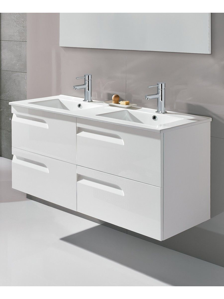 Pravia white 120cm vanity unit 4 drawer and basin for Large bathroom units