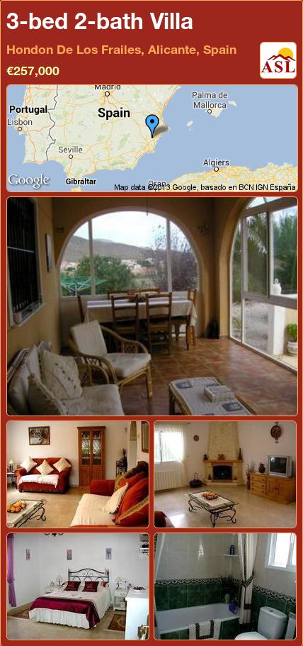 3-bed 2-bath Villa in Hondon De Los Frailes, Alicante, Spain ►€257,000 #PropertyForSaleInSpain