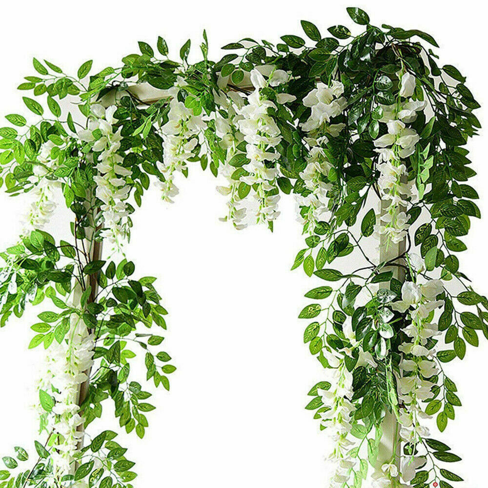2x7FT Artificial Wisteria Vine Garland Plants Foliage Trailing Flower In//Outdoor