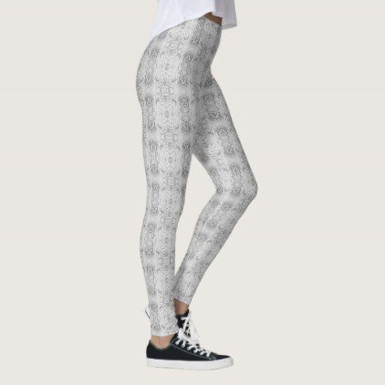 451d393d0bd36 Stylish Silver Foil Damask Pattern Leggings - glitter glamour brilliance  sparkle design idea diy elegant