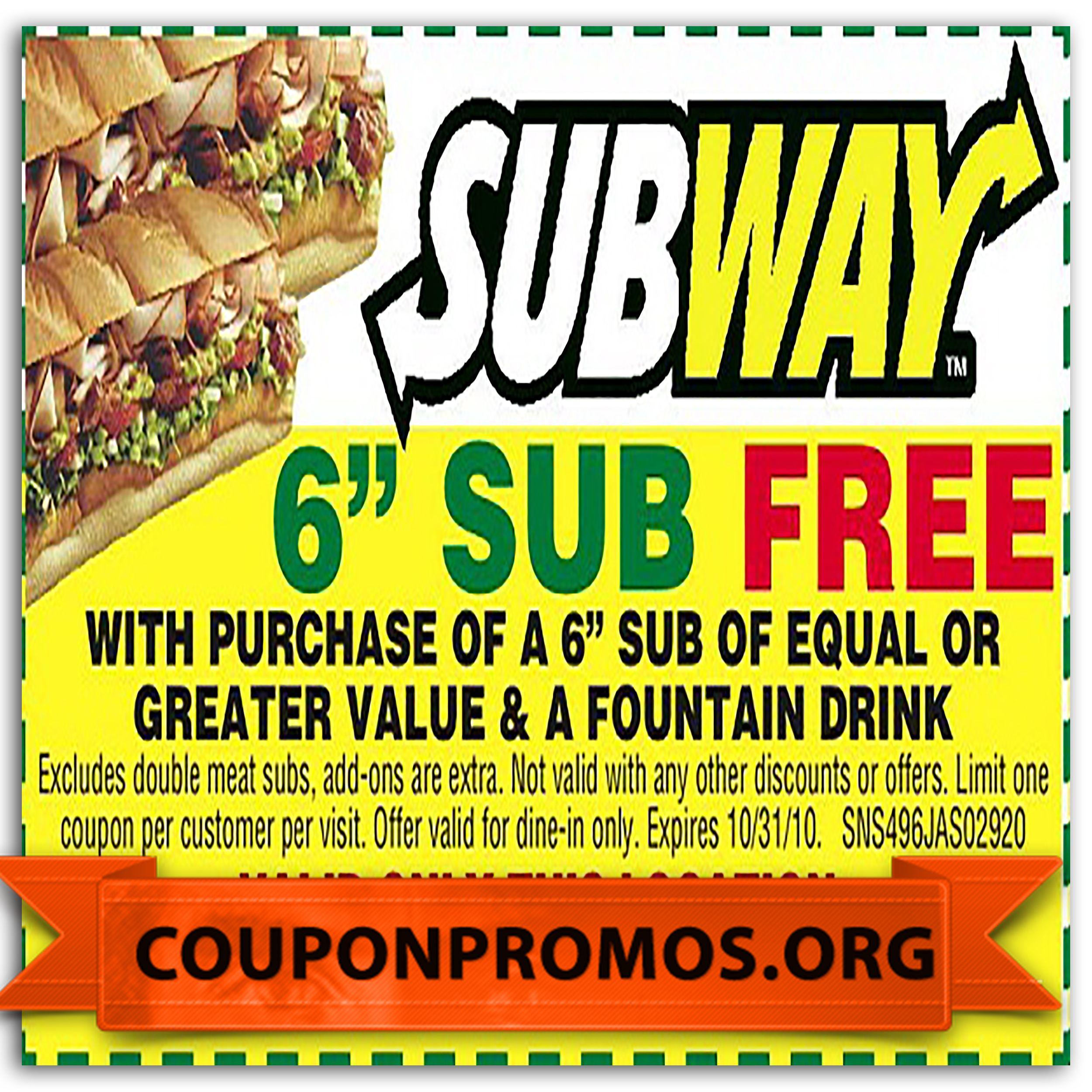 Free subway printable coupon november 2014 grocery