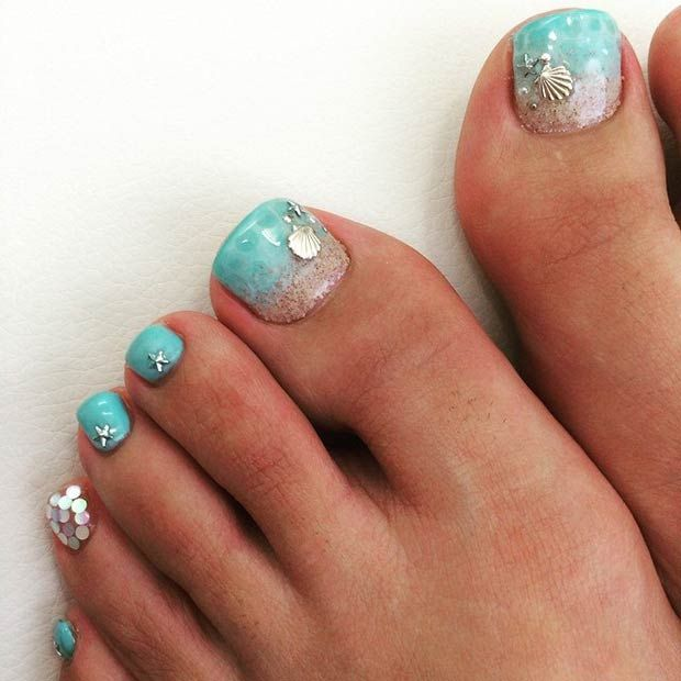 Beach (Sea and Sand) Toe Nail Design - 31 Adorable Toe Nail Designs For This Summer In 2018 StayGlam