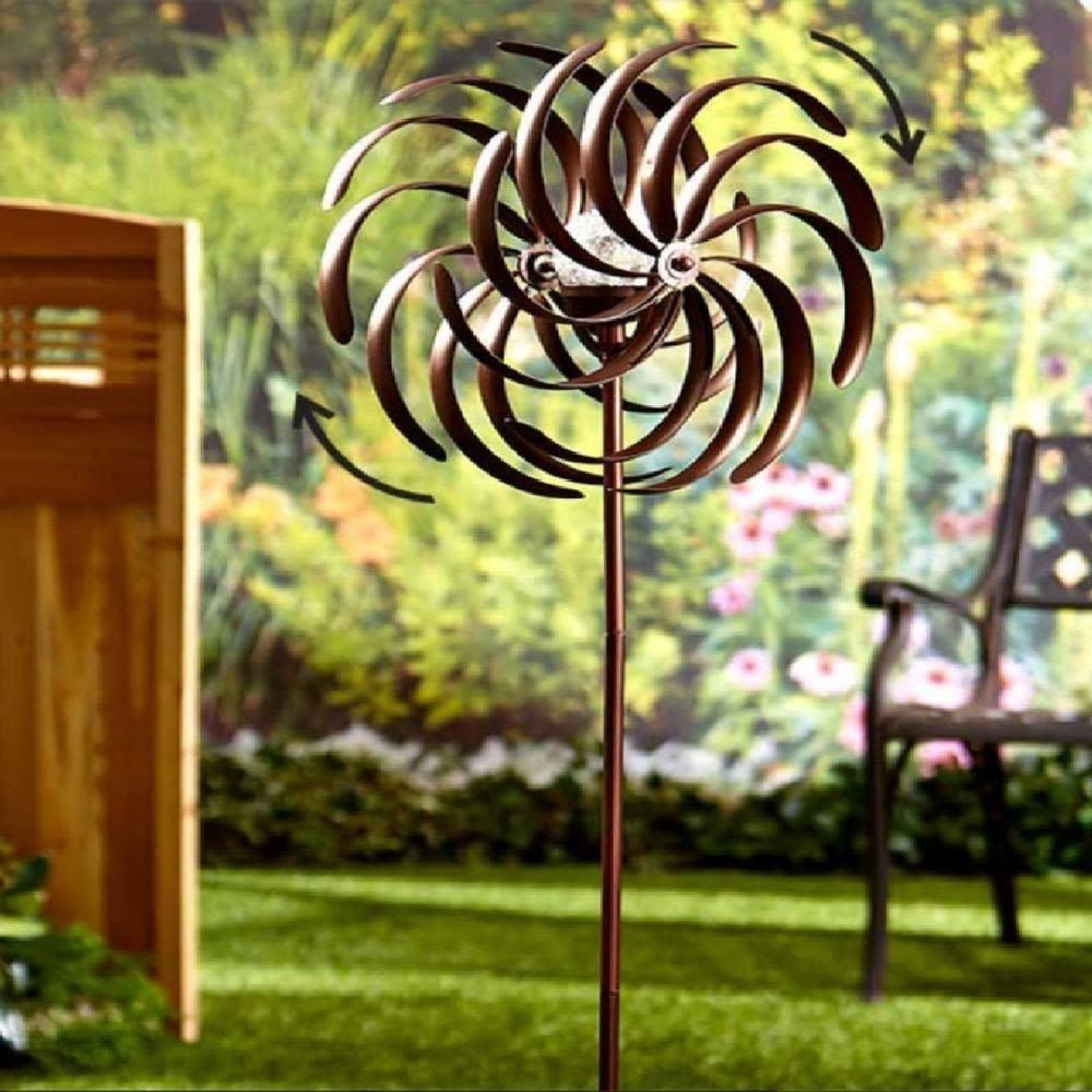 Double Spiral Wind Spinner Solar Light Garden Yard Art Outdoor Lawn ...