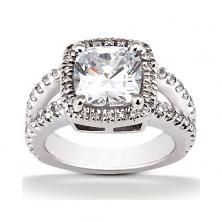 14k white gold cushion halo engagement ring with split shank available at Wheat Jewelers