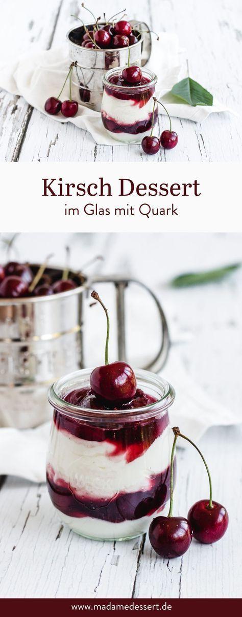 Schnelles Kirsch Dessert im Glas mit Quark-Creme