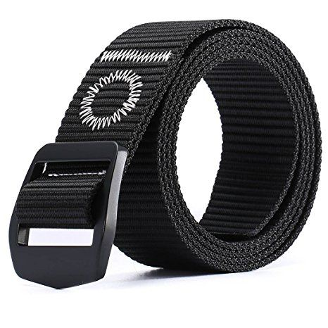 8d0a755f58 Men s Tactical Duty Military Breathable Nylon Canvas Webbing Waist Belt  with Solid Metal Buckle Adjustable