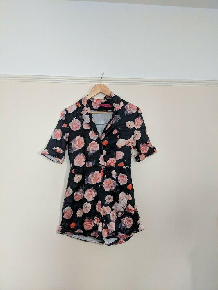 39c4c115c316 Black Floral Playsuit Size 8 #fashion #clothing #shoes #accessories  #womensclothing #