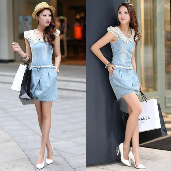 Pearl cowboy doll denimm dress,  more details: www.favechic.com, we are FREE SHIPPING and give you CASHVOUCHER only by subscribe ♥ #favechic #fashion #ootd #style #dress #best #top #korea #dress