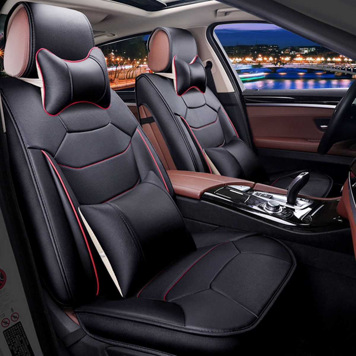 Grtsunsea Deluxe 13Pcs 5 Seats Car PU Leather Full