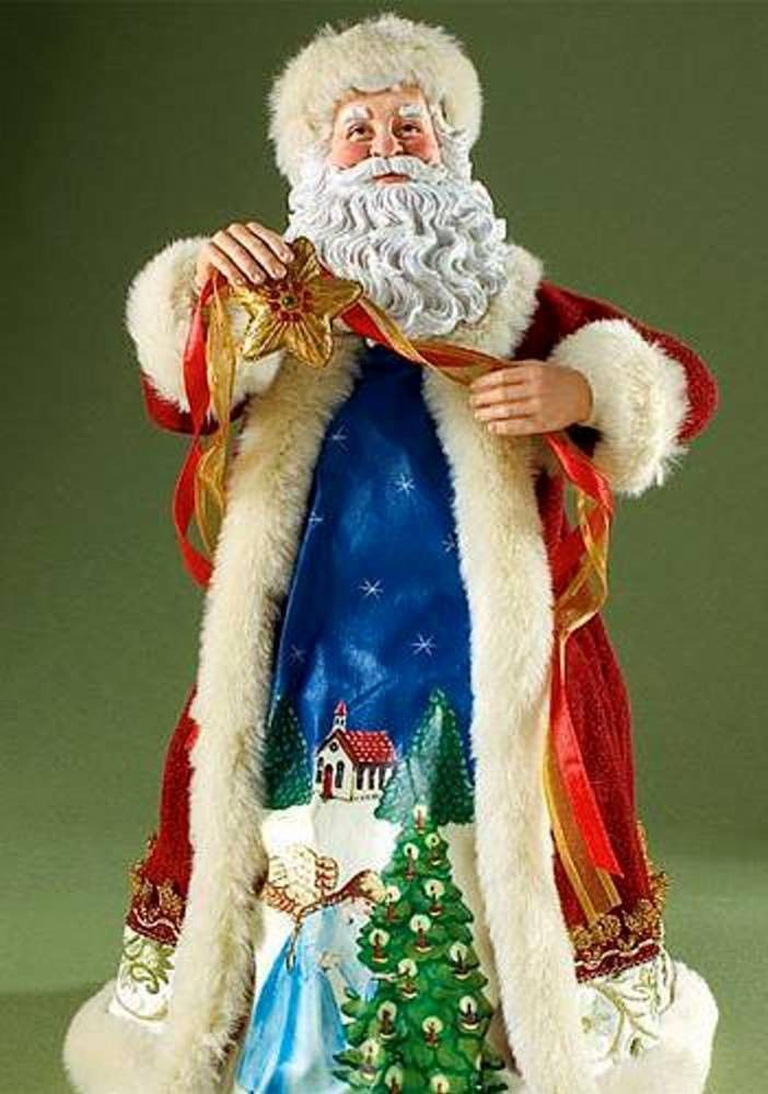 RETIRED 2008 CLOTHTIQUE POSSIBLE DREAMS *Santa Tops the Tree* TREE TOPPER, NIB #Figurine