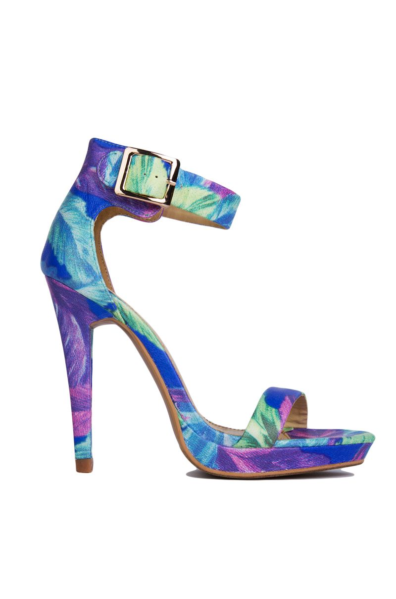 Cute Blue Floral Printed Ankle Strap Sandal Heels | Womens Shoes ...