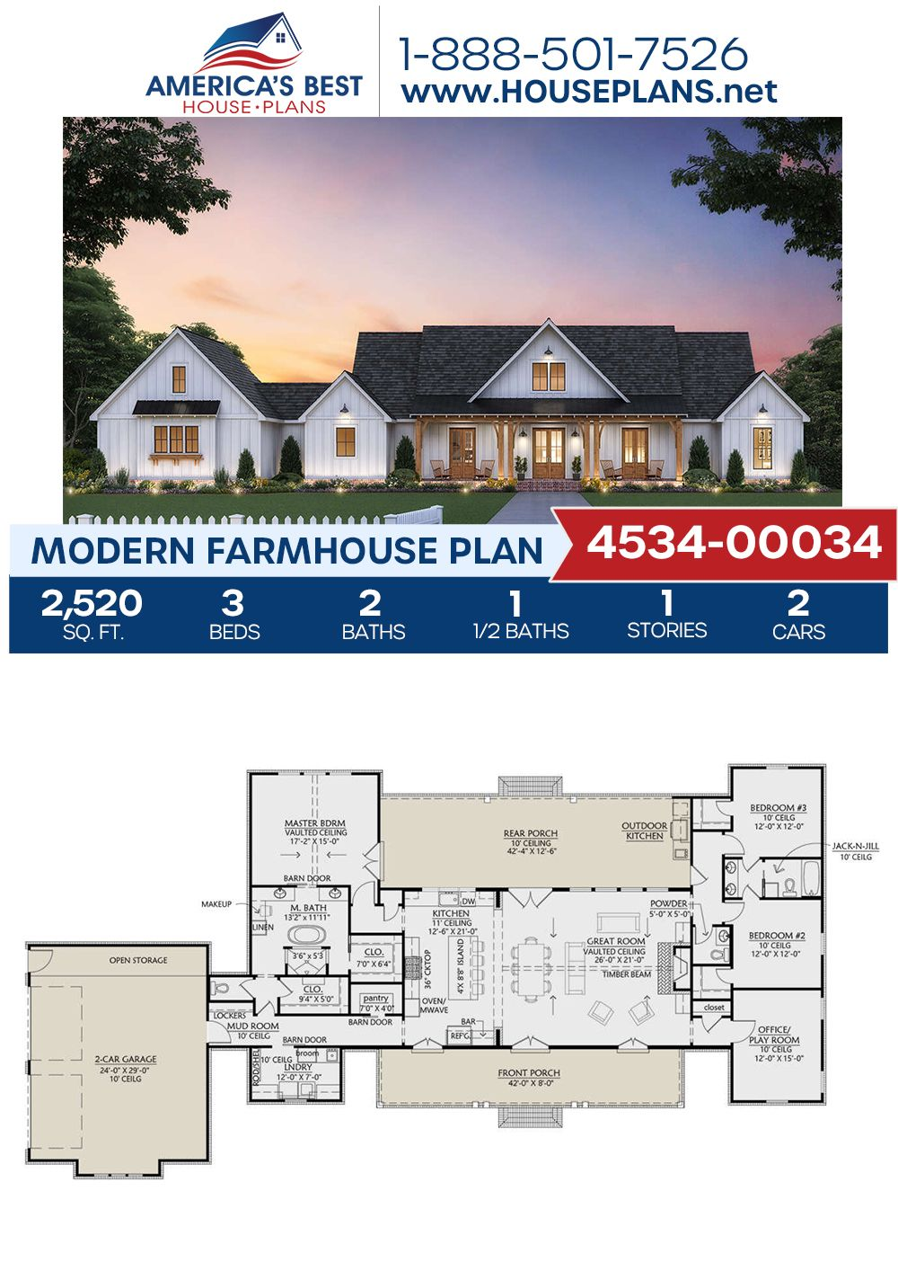 House Plan 4534 00034 Modern Farmhouse Plan 2 520 Square Feet 3 Bedrooms 2 5 Bathrooms In 2020 Modern Farmhouse Plans House Plans Farmhouse Farmhouse Plans