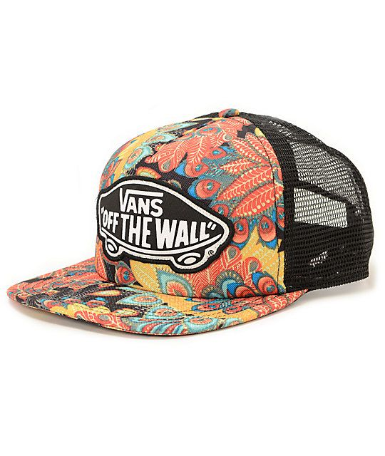 4d5159cc19a The colorful peacock feather print padded front panels and bill stand out  against mesh panels with a snapback sizing piece for the perfect fit with  no ...