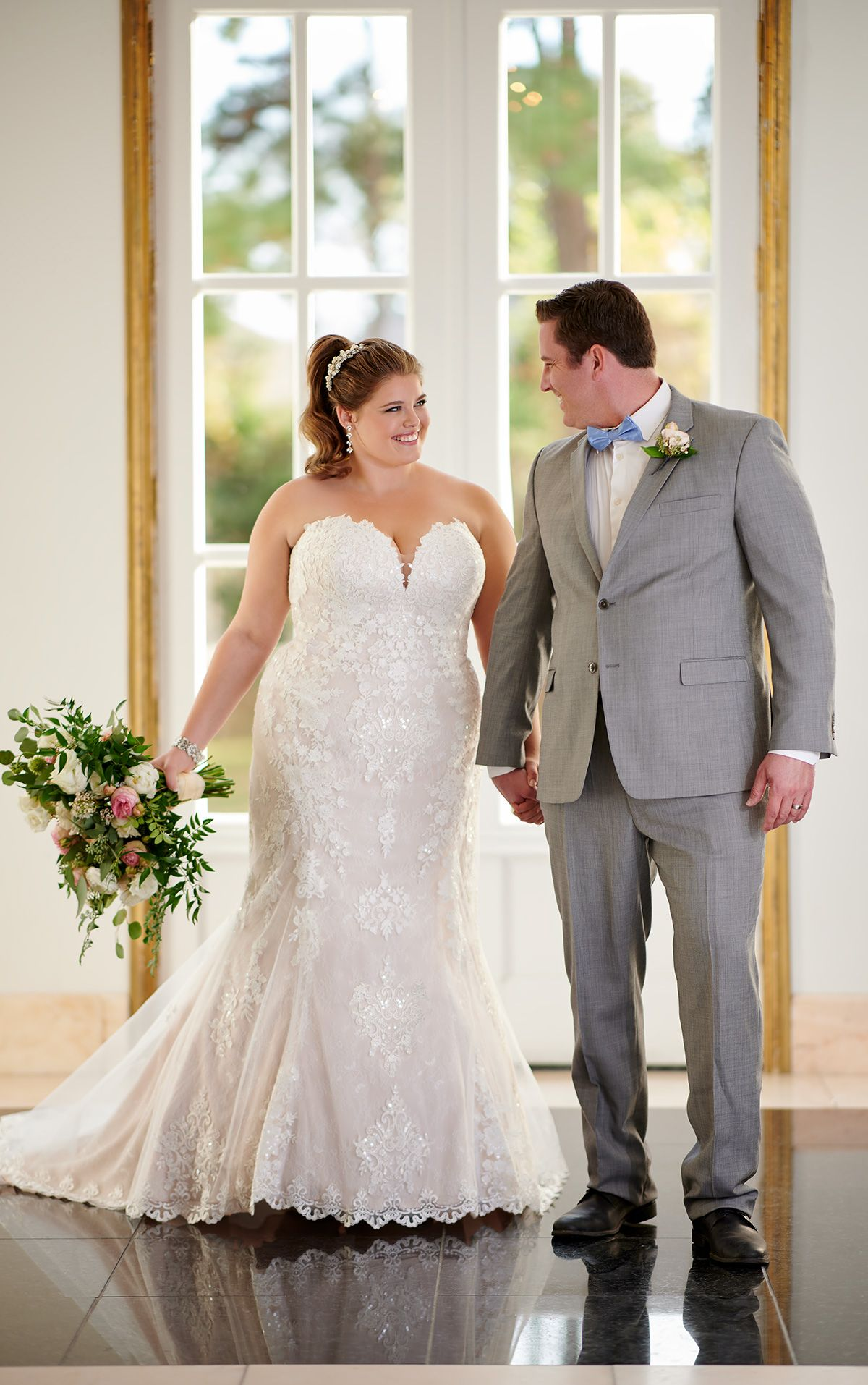 French lace plussize wedding dress with scalloped train