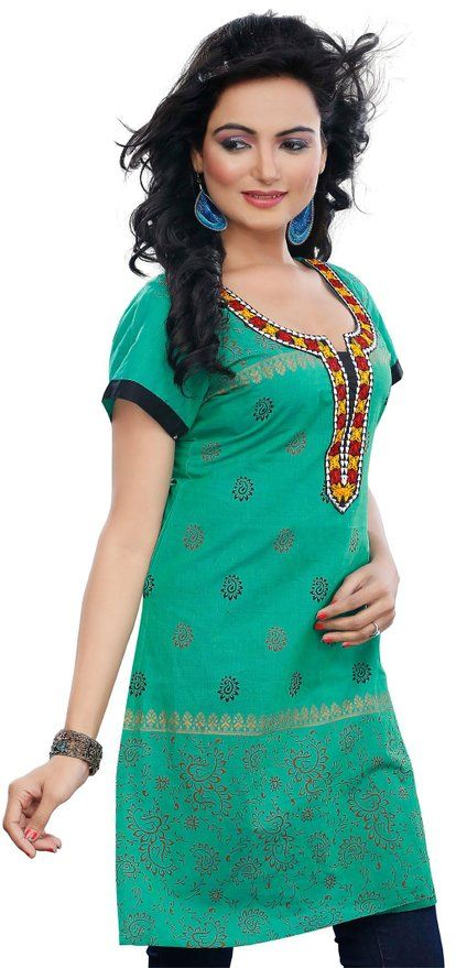 c52c3882a13 Long Short Sleeve Indian Kurti Womens Tunic Top Cotton Blouse at Amazon  Women's Clothing store: