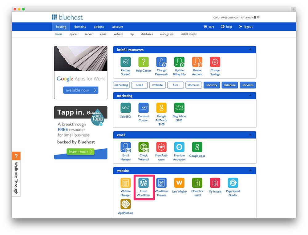 Bluehost's cPanel. Google apps for work, Making a