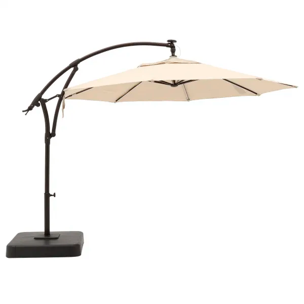 Hampton Bay 11 Ft Aluminum Cantilever Solar Led Offset Outdoor Patio Umbrella In Putty Tan Yjaf052 Pu The Home Depot In 2020 Patio Umbrella Outdoor Patio Umbrellas Offset Patio Umbrella