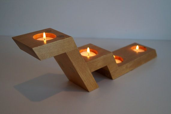 Sweden,Vintage, Large Blond Wooden candle holder.It holds four candles. Scandinavian retro design.Mod… | Wooden candles, Design candle holders, Small votive candles