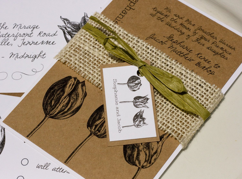 Vintage style engraved botanical tulip natural wedding invitation