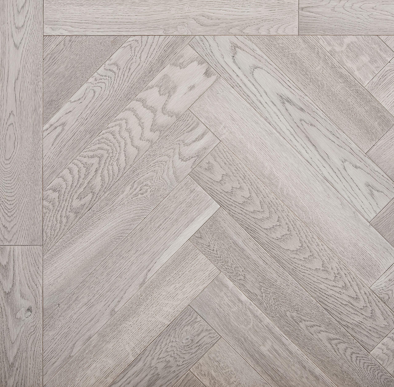 Bespoke engineered grey herringbone parquet wood flooring