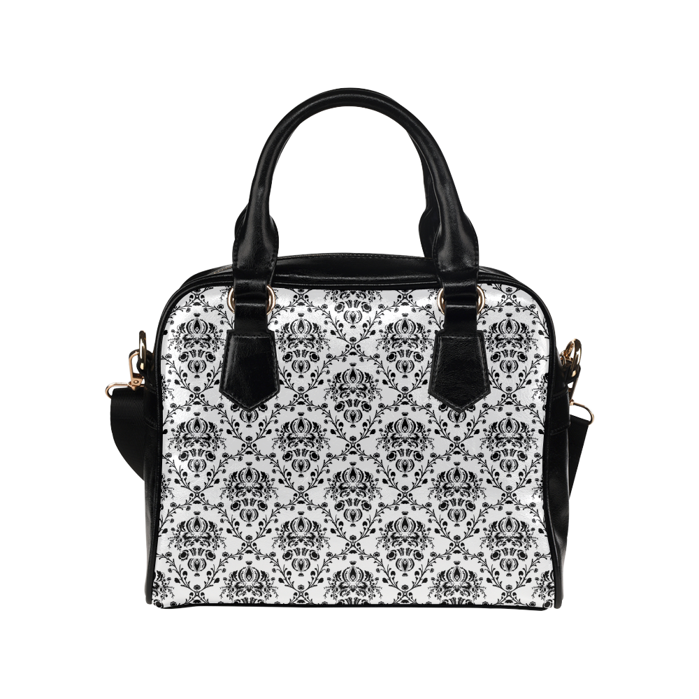 Elegant Vintage Look Black And White Damask Shoulder Handbag Model 1634