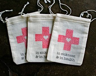 Wedding Favor Bags Muslin Set Of Diy Hangover Kit In Sickness And Health First Aid For Guests