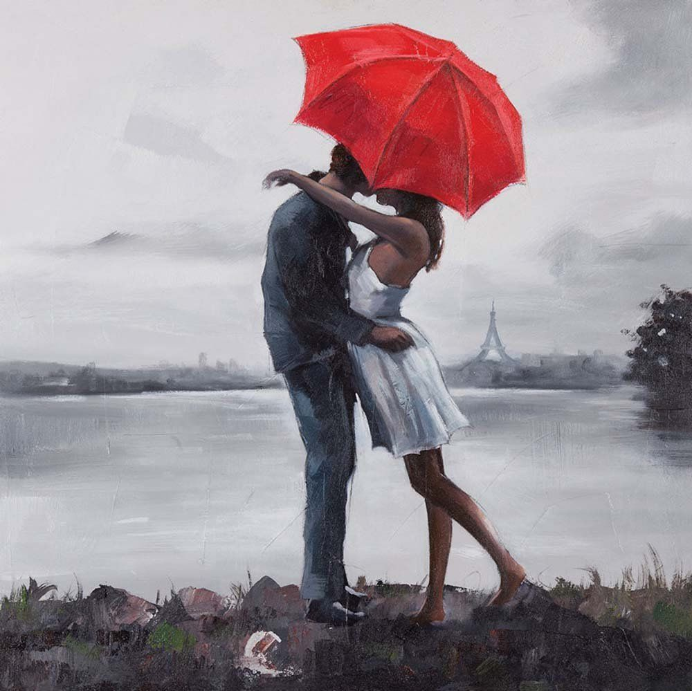 Hand Painted Kissing In The Rain Under Red Umbrella Oil