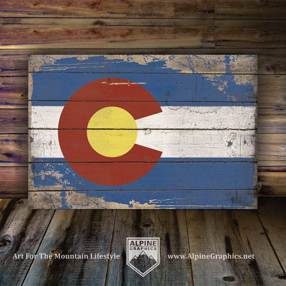 COLORADO FLAG Rustic Wood Sign, 3 Sizes, Woodsy Cabin