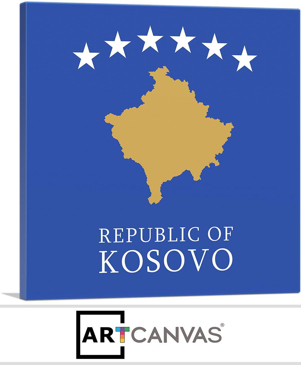Republic Of Kosovo Flag Square In 2020 Kosovo Flag Canvas Art